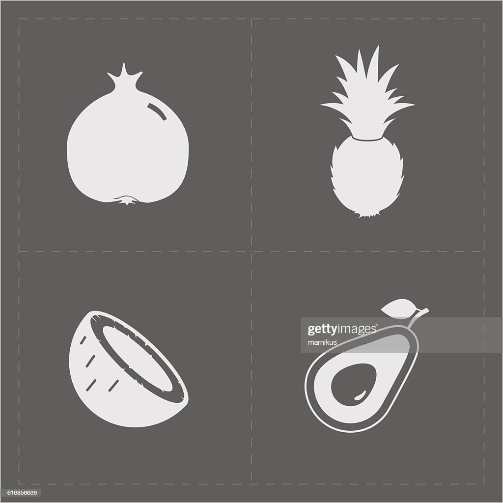 White Fruit Icon Set on Grey Background : Vector Art