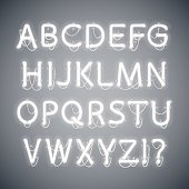 White Glowing Neon Alphabet. Used pattern brushes included. There are fastening elements in a symbol palette.