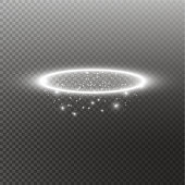 White halo angel ring. Isolated on black transparent background, vector illustration.