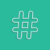 white hashtag icon isolated on green background. concept of social media and simple number sign. trendy modern vector illustration