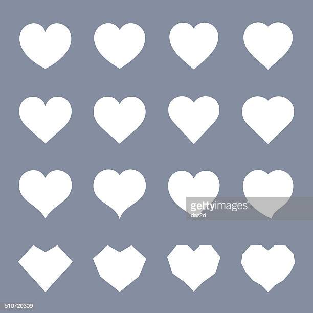 White Heart Symbol Set