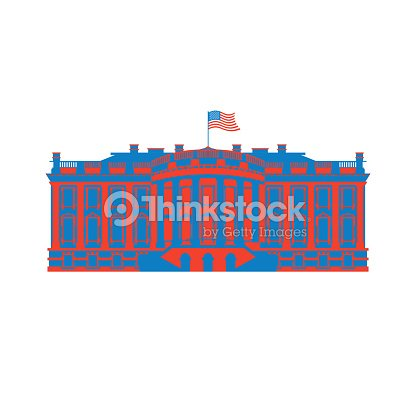 White House America colored icon. Residence of President USA. US government building. American political character. Main attraction washington dc. patriotic mansion United States