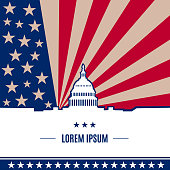 USA presidential election day concept with american flag on background in flat style. White house and Capitol building light silhouette with text place on it. Vector illustration