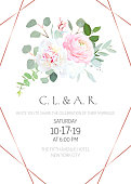 Floral geometrical vector design frame.White hydrangea, peony, pink ranunculus, eucalyptus and greenery.Spring wedding flowers.Gold line banner.Watercolor style. All elements are isolated and editable