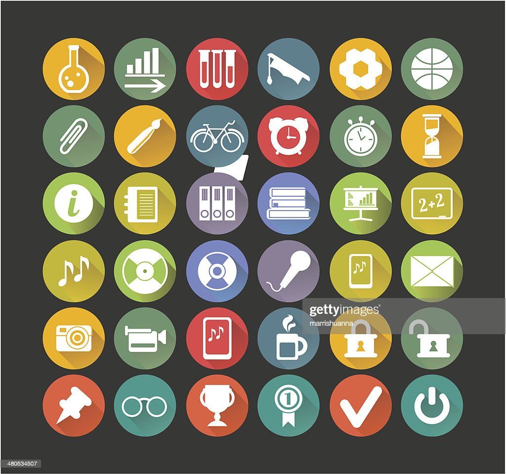 Weiße Symbole Bildung : Vektorgrafik