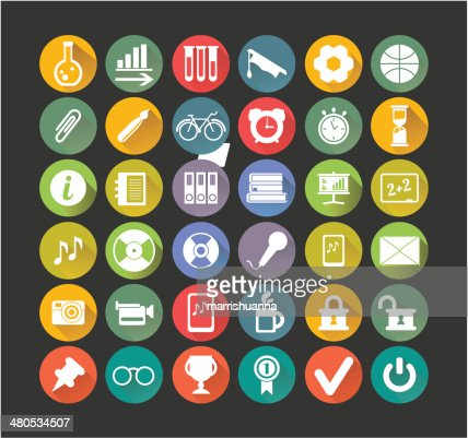 white icons education : Vector Art