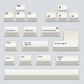 Isometric Computer Keyboard Keys Including WASD, Arrow Keys, Up, Down, Left, Right, Alt, Control, Option, Shift, Enter, Space Bar, Escape and Tab