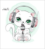 lovely cute white kitten, in earphones and with the microphone, sings the song