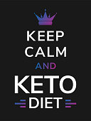 White lettering slogan - keep calm and keto diet- with colorful gradient queen crown. Vector minimal illustration of black background and motivational British war propaganda text