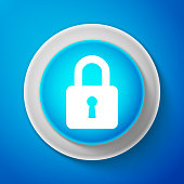 White Lock icon isolated on blue background. Circle blue button with white line. Vector illustration