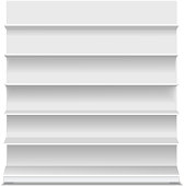 White long blank empty showcase displays with retail shelves front view vector Isolated.