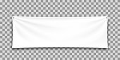 White mock up textile banner.