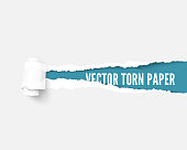 White package paper torn to reveal blue panel ideal for copy space. Advertising template with ripped paper with paper roll