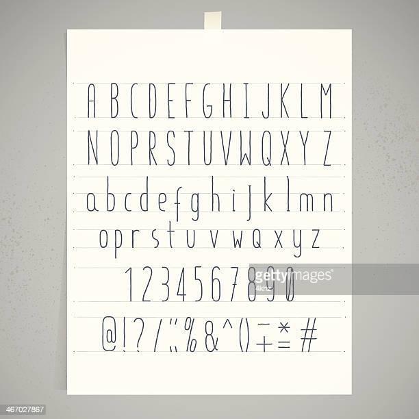 White Paper Adhesive Tape Gray Wall Condensed Handwriting Alphabet