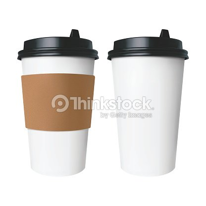 White paper Cup with a brown cover with label and without label. Isolated vector cup for hot drinks like coffee and tea. : stock vector