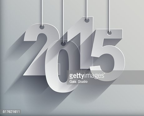 2015 White Paper Origami card on gray background. : Vector Art