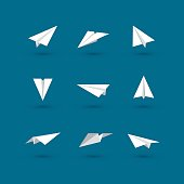 Set of white paper plane icons isolated on dark blue background.