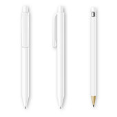 White pen and pencil vector mockups. Corporate identity and branding stationery template. Branding pen and pencl identity, office pencil and pen, design pen and pencil illustration