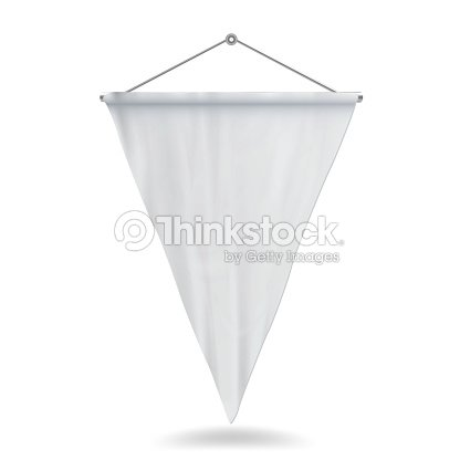 white pennant template vector illustration empty 3d pennant mock up