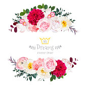 White peony, pink rose, orchid, carnation flowers, orchid, burgundy red dahlia, ranunculus vector design frame. Elegant wedding card. Horizontal floral banners. All elements are isolated and editable