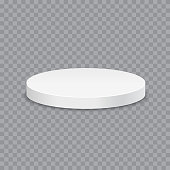 White podium. Round 3d empty podium with steps. Vector mockup.