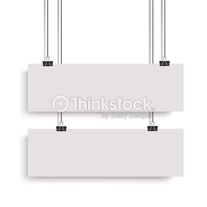 White Poster Mock Up Template Hanging On Binder Two Horizontal Paper Banners Vector Illustration