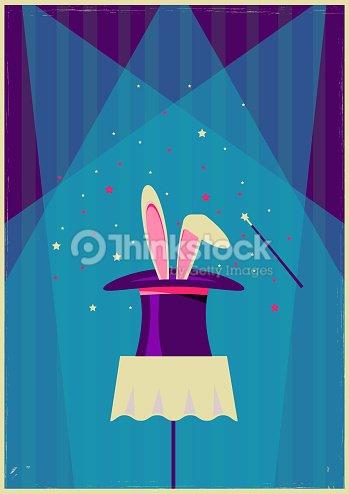 Conejo blanco en el sombrero mágico. Cartel antiguo vector de magia show    Arte vectorial 374ec026b58