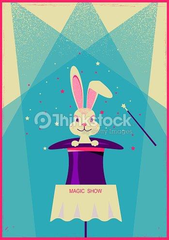 Conejo blanco en el sombrero mágico. Cartel de vector de show de magia    Arte 6817093b9cc