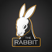 Head of rabbit on a dark background. Vector illustration with room for text.