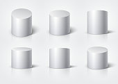 White realistic cylinder, empty stand round podium isolated. 3d geometric shapes vector set. Cylinder and pedestal circle, podium and stand circular illustration
