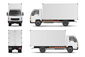 White realistic delivery cargo truck. Lorry for advertising side, front and rear view isolated on white background. vector illustration EPS 10.