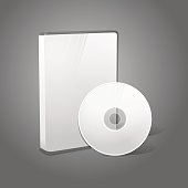 White realistic isolated DVD, CD, Blue-Ray case with DVD, CD disk on grey background. With place for your text and pictures. Vector illustration