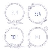 White marine rope round vector design frame set