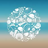 White seashell silhouette round concept. Graphic summer marine, vector illustration