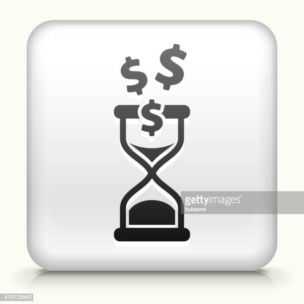 White Square Button with Time is Money Icon