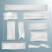 White textile banners and flags in vector