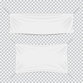 White textile banners with folds template set. Separate transparent shadow on plaid background. Cotton and canvas, flag blank, advertising empty. Vector illustration for your text, design, business