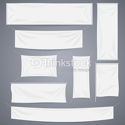 白い織物のバナーベクトルテンプレートに折り返しに設定します独立した