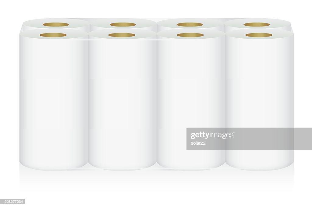 White tissue paper 8 roll in pack : Vector Art
