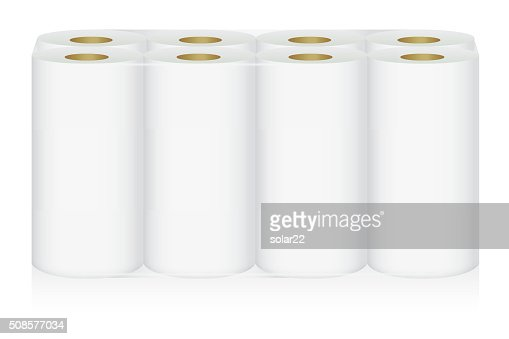 White tissue paper 8 roll in pack : Vektorgrafik