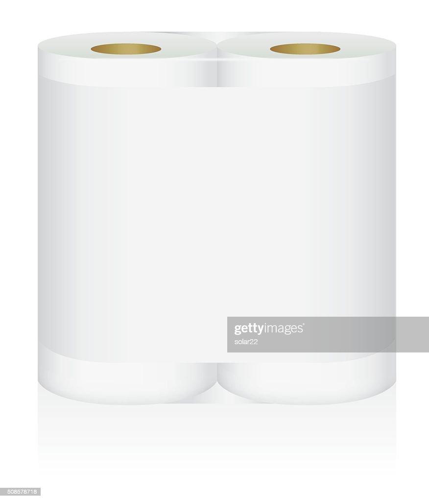 ホワイトティッシュペーパー紙ロールにダブル飾りアップパッケージ : ベクトルアート