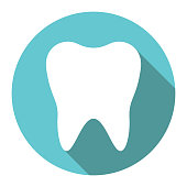White tooth in circle with long drop shadow on turquoise blue background. Dental care, health and hygiene concept. Flat design icon. Vector illustration, no transparency, no gradients