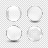 Set of transparent glass sphere with glares and highlights. White pearl, water soap bubble, shiny glossy orb. Vector illustration with transparencies, gradient and effects for your design and business