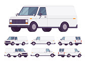 White van set. Road vehicle for transporting goods, medium-sized motor delivery truck for commercial service and business needs. Vector flat style cartoon illustration isolated on white background