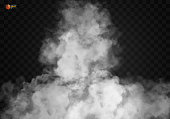 White vector cloudiness, mist or smog background. Fog or smoke with glow light isolated transparent background. Magic template. Vector illustration