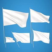 A set of 5 wavy 3D flags created using gradient meshes. EPS 8 vector