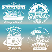 White vintage vacation set - summer travel banners design. Vector illustration