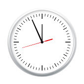 White wall office clock icon showing five minutes to twelve. For new year concept. Illustrated vector.