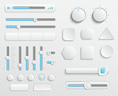 White web buttons and ui sliders vector set isolated on transparent background. Interface for web navigation and ui for video and music control illustration