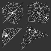 White web with a spider on a black background. A spider weaves a spider web. Flat design, vector illustration, vector.